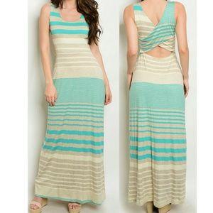 Dresses & Skirts - Striped Cut Out Back Maxi Sundress